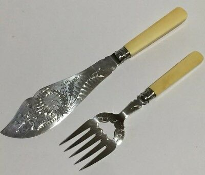 Pair Antique Harrison Brothers & Howson Engraved Silver Plated Fish Servers