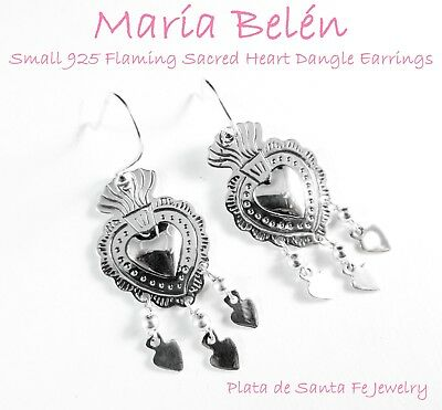 Maria Belen Hand Tooled~Dainty~Flaming SACRED HEART Sterling Dangle Earrings