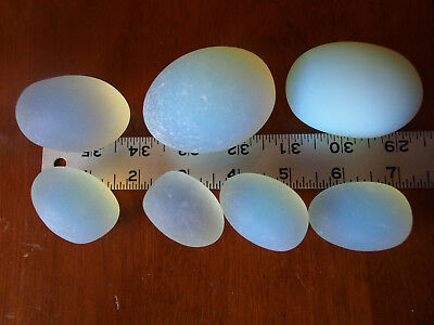 Huge Set 7 Vintage Antique Heavy Glass Vaseline Opaline Eggs Lot Possibly French