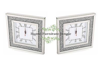 NEW MIRRORED GLASS SQUARE WALL CLOCK GLITZ DIAMANTE CRUSHED CRYSTALS 50x50cm