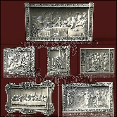 6 3D Models STL CNC Router Artcam Aspire Religion Jesus Panel Cut3D Vcarve