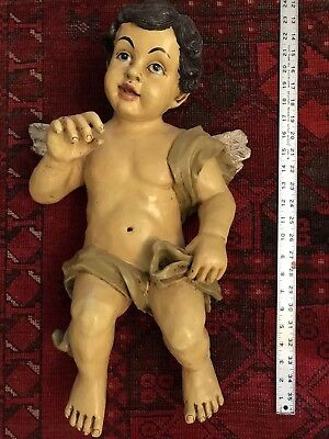 "22"" Large Antique Hand Painted Cherub Putti Baroque Figure Composition Wall 8lbs"