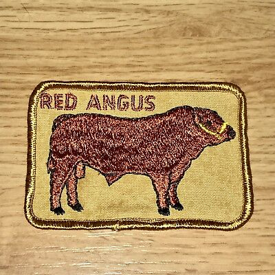 Vintage 1970s Patch Livestock Cow Red Angus Cow Western Cowboy Farm