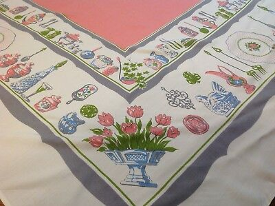 Vtg 50s Large Mid Century Decor Printed Cotton Tablecloth Pink Gray Chicken Nest