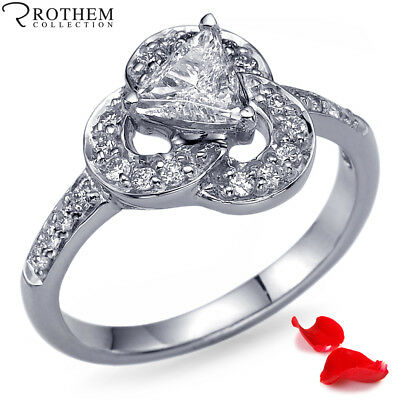 Her Valentines Day Gift 0.65 CT SI2 Trillion Diamond Ring White Gold 10744388