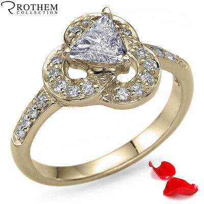 Her Valentines Day Gift 0.63 CT I1 Trillion Diamond Ring Yellow Gold 10848823
