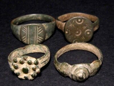 LOT of 4 pcs. ANCIENT ROMAN , BYZANTINE AND MEDIEVAL FINGER RINGS+++