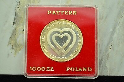 1986 Poland Silver 1000 Zlotych Proof Pattern Proba Mothers Health Center