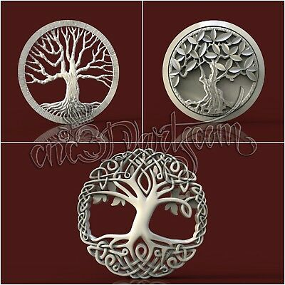 3 3D STL Models Family Tree Panel for CNC Router Carving Machine Artcam aspire