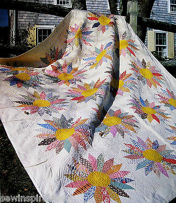 Sunflower Vintage Quilt Pattern Patchwork Applique Scrap Dresden