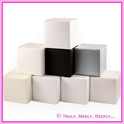 5x5x5cm Wedding/ Christening Bomboniere/ Favour Boxes in Metallic/Clear 25 PACK