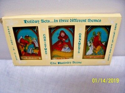 Hand Crafted Stained Glass Christmas The Nativity Scene Ornaments/FREE Shipping!