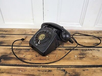 Black Telephone Vintage Retro Rotary Corded Dial