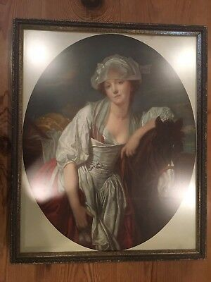 Vintage posted of woman and horse, 24 by 19.5 inches, framed, ready to hang