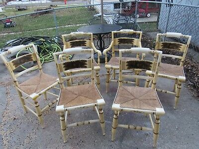 6 Antique Yellow L. Hitchcock Chairs with Fruit Pattern  LOCAL PICK UP ONLY