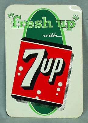 "Vintage Fresh Up with 7up Soda Embossed 19.25"" Metal Stout Sign Co. St. Louis 14"