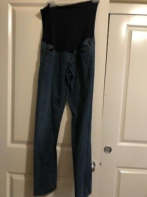 Maternity Women's Liz Lange Blue Jean Pants Belly Panel Skinny Leg Small 2