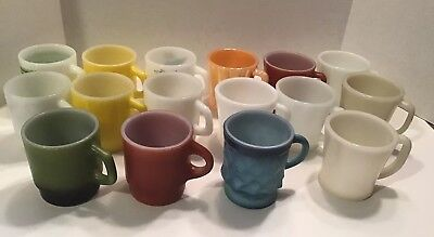 Vintage Fire King Coffee Mugs Cups Lot Of 16 Assorted