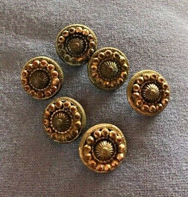 Vintage Set of 6 Victorian Metal Shank Buttons w/Beaded Decorative Pattern 5/8""