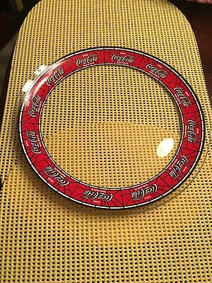 "Coca Cola Plate Clear Glass Red Ring Coke ""Stained Glass"" Design No Marks EUC"
