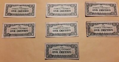 WWII ERA THE JAPANESE GOVERNMENT ONE CENTAVO PAPER MONEY - Lot of 7