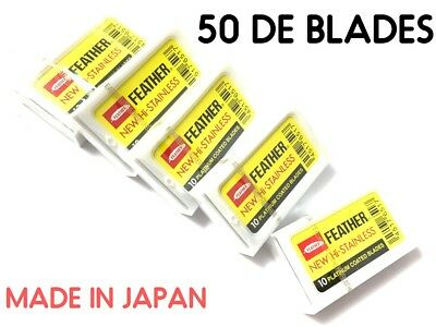 50 Feather Razor Blades Yellow Pack HI-STAINLESS Double Edge Platinum Coated DE