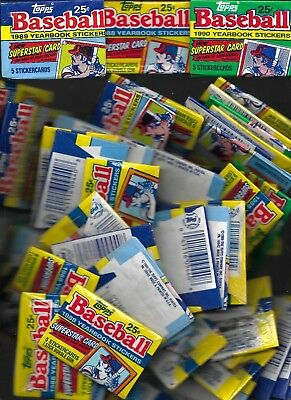 Huge Lot Of 1988-9-90 Topps Unopened Yearbook Stickers Cards Large Priority Box