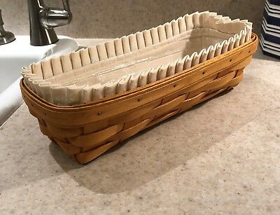 Longaberger Rectangular Cracker Basket with Liner and Protector