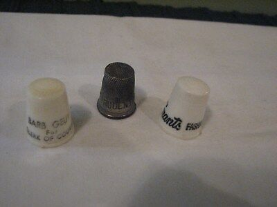 Vintage Advertising Thimbles, Lot of Three