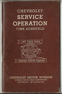1939 Chevrolet Service Operation Time Schedule Booklet