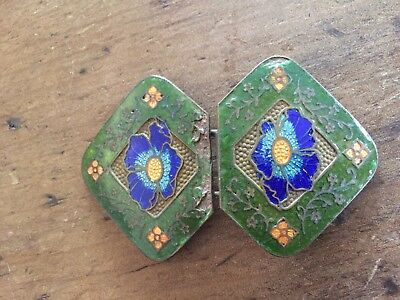 Art nouveau Brass Enamel 2 Piece Belt Buckle Vintage Antique