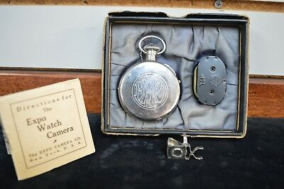 Antique Expo Pocket Watch Novelty Miniature Spy Camera with Box & Viewfinder