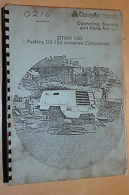 Compair Holman Zitair 150 D3.152 Compressor Use Maintenance & Spare Parts Manual