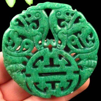 Green Carved Chinese Old Jade Hand-made Dragon Pendant Bead A18216