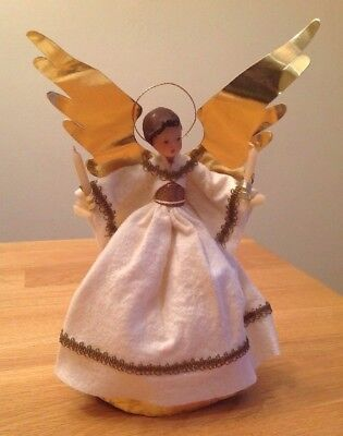 Antique Vintage Germany Wax Angel & Candle Tree Topper