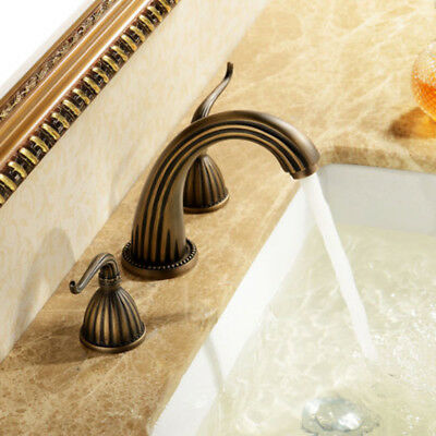 Antique Waterfall Bathroom Sink Faucet Widespread 3-hole 2-handle bath Tap Brass