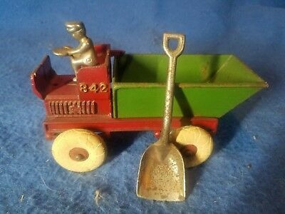 "Cast Iron Kenton Hubley Arcade ? 842 Dump 7"" Truck with nickel man and shovel"