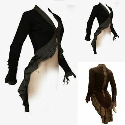 Women Black Steampunk Victorian Style Gothic Jacket Medieval Noble Court Coats