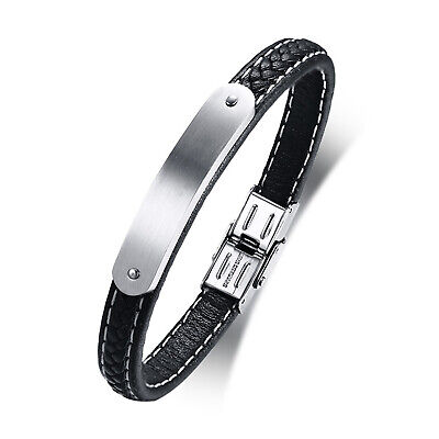 Mens Boys Black Leather Bracelet Free Engraving Stainless Steel ID Cuff Bangle