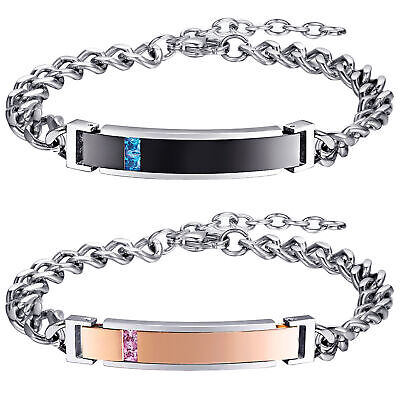 Stainless Steel His and Hers Lovers Promise Couple Bracelet Gift Free Engraving