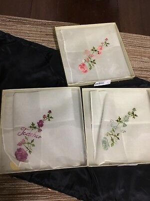 "VTG SWISS FLORAL Embroidered ""Teacher"" Fine COTTON Handkerchief Lot Of 3"