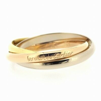 Auth Cartier Trinity XS Ring 750(18K) Tri-Color Gold #51 US5.5