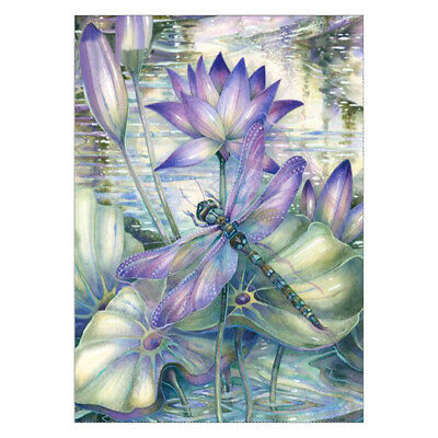 Flower Dragonfly 5D Full Drill Diamond Painting Embroidery Cross Stitch Decor AU