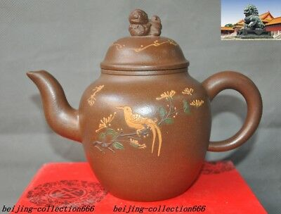 Chinese Yixing zisha pottery carving lion Pixiu beast bird teapot pot Tea make
