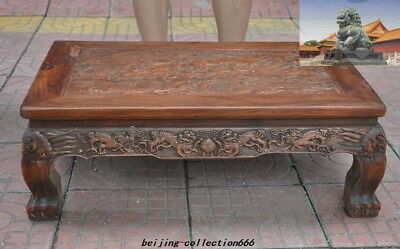 """27""""Old China Huanghuali Wood Inlay shell lion Dragon Furniture table Desk Tables"""