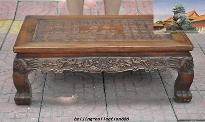 "China Huanghuali Wood Inlay shell Bird flowers ""福"" Furniture table Desk Tables"