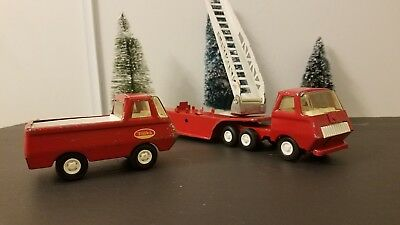 "Vintage 1960's Tonka Fire Ladder Truck Trailer 10 1/2"" & Red Fire Pick Up Truck"