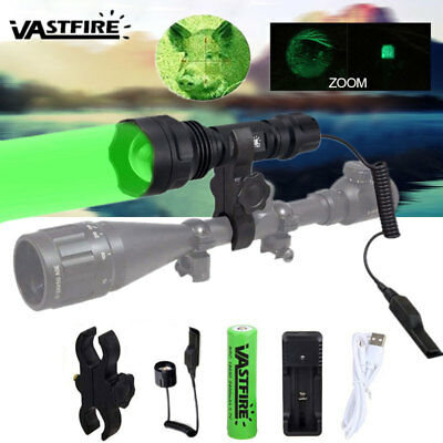VASTFIRE 350 Yard 5000LM LED Green Flashlight Zoomable Hunting Torch Rifle Mount
