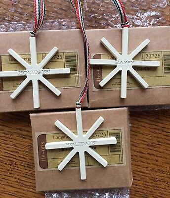 Longaberger Snowflake Tie-On Ornament 2009 Happy Holidays - Lot of 3
