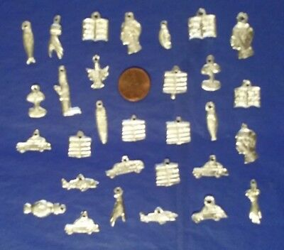 30 Libros y Carros Silver Color Mexican Milagros Milagro Charms Exvoto Lot #15